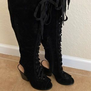 Forever 21 Velvet Lace Up Boots